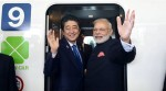 The Prime Minister, Shri Narendra Modi and the Prime Minister of Japan, Mr. Shinzo Abe boarding the Shinkansen bullet train to Kobe from at Tokyo Station, in Japan on November 12, 2016.