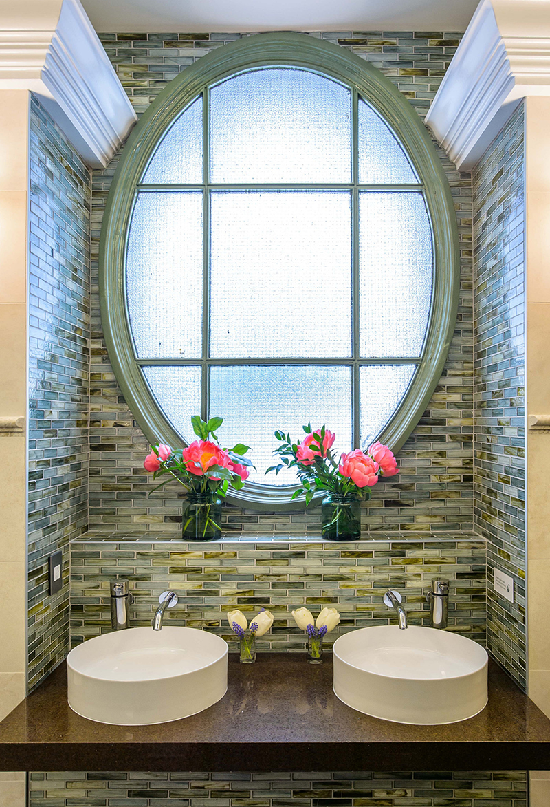 TOTO's Helix Wall Mount EcoPower Faucets and Arvina Vessel Lavatories enhance the elegance of Bryant Park's newly remodeled luxury public restrooms.
