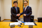 Mr. Michimasa Fujino, CEO of Honda Aircraft Company, and Mr. Gentaro Toya, President & CEO of Marubeni Aerospace