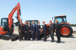 Left to Right: Kansas Dept. of Commerce Interim Secretary Robert North; Kansas Dept. of Transportation Deputy Sec. BJ Harden; Dan Jones, Kubota VP; Kansas Dept. of Transportation Sec. Richard Carlson; Governor of Kansas, Jeff Colyer; Masato Yoshikawa, Kubota President and CEO; Edgerton Mayor Donald Roberts; Alex Woods, Kubota VP.